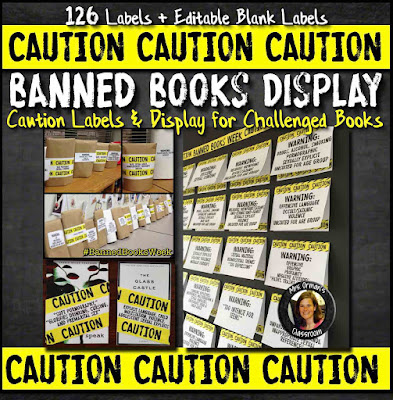 Caution Labels and Bulletin Board Display for Banned Books Week  www.hungergameslessons.com