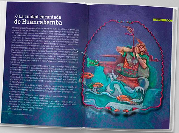 Ilustración. Mitos peruanos para Libro Ruta viva (PERÚ). Detalle libro
