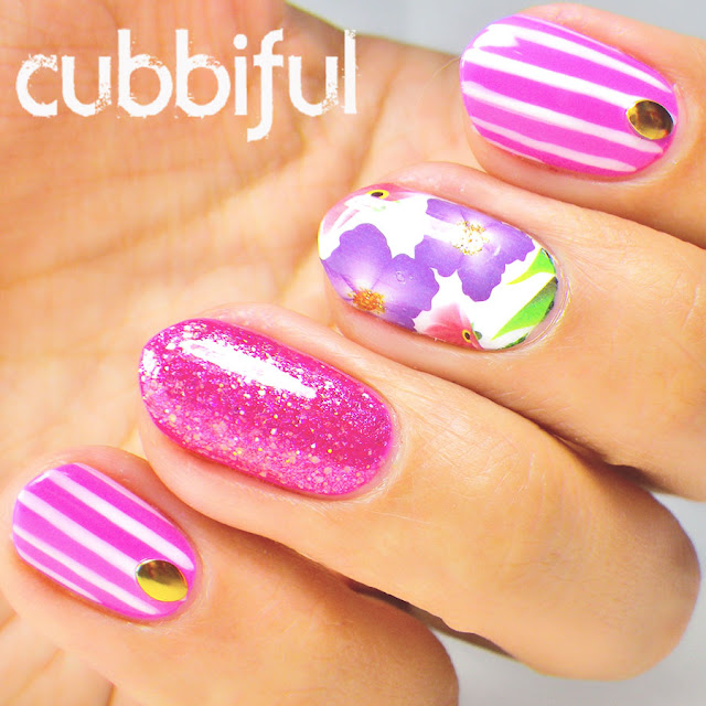 Floral Nails with Hot Pink and Freehand Stripes