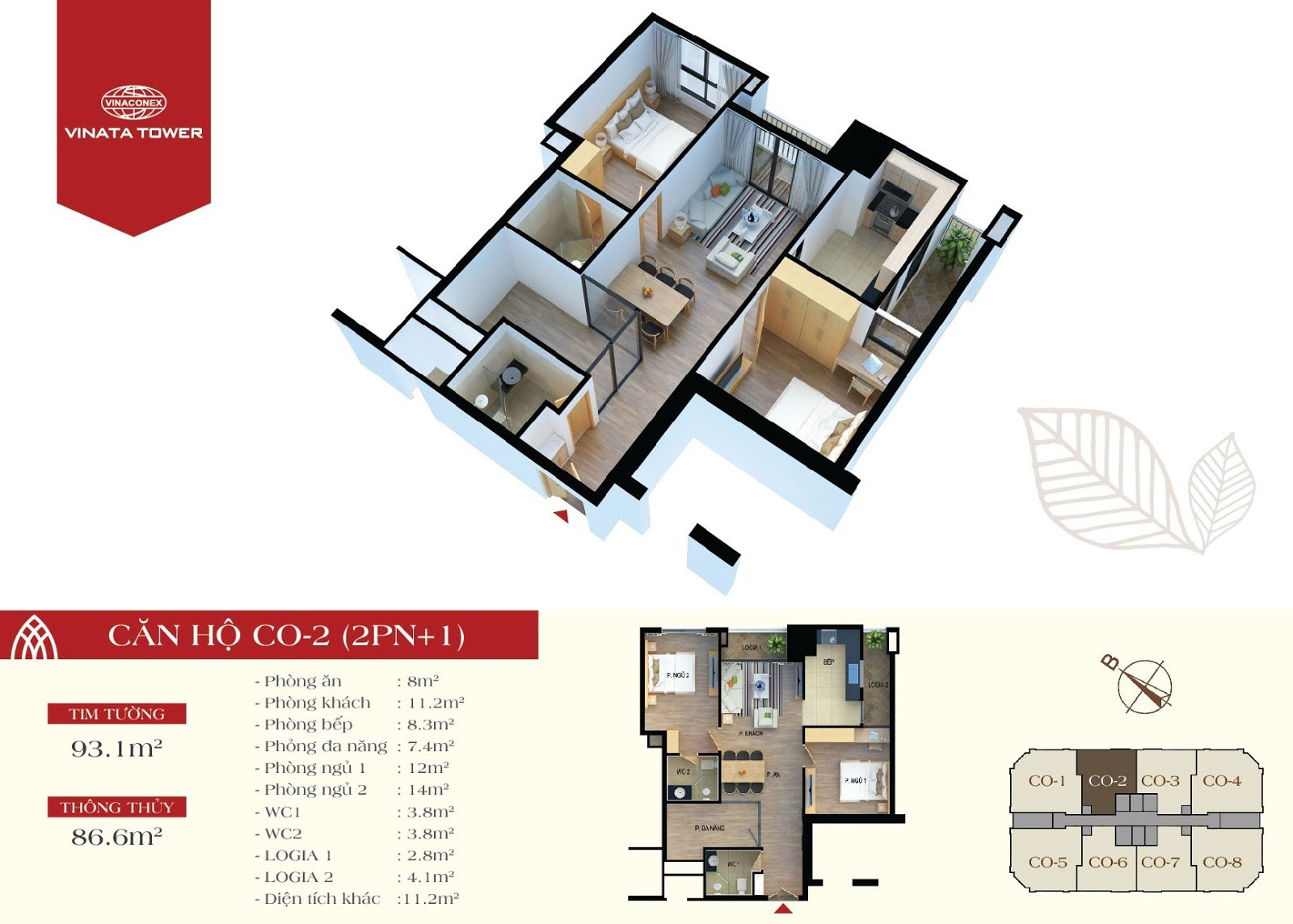 Thiết kế chi tiết căn hộ CO-02 DT 86,6m2 - 2PN, 1 đa năng, 2VS