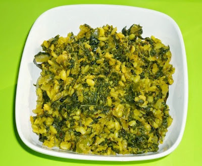 Methi moong dal sabzi in a serving bowl