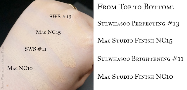 Mac NC10 NC15 Sulwhasoo cushion #11 #13