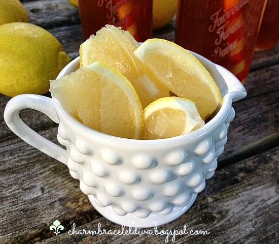 fresh lemon slices hobnail milkglass creamer