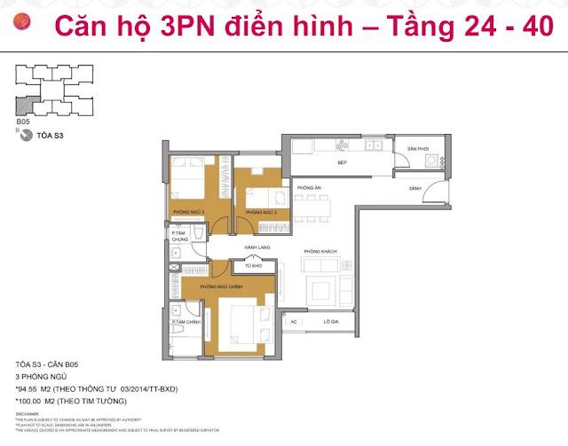 Căn hộ 3PN, tòa S3, Seasons Avenue