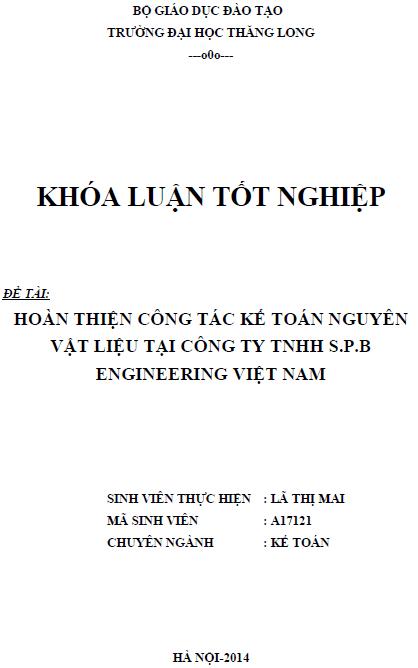 Hoàn thiện công tác kế toán nguyên vật liệu tại Công ty TNHH S.P.B ENGINEERING Việt Nam
