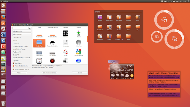 Screenlets desktop widgets Ubuntu 16.10