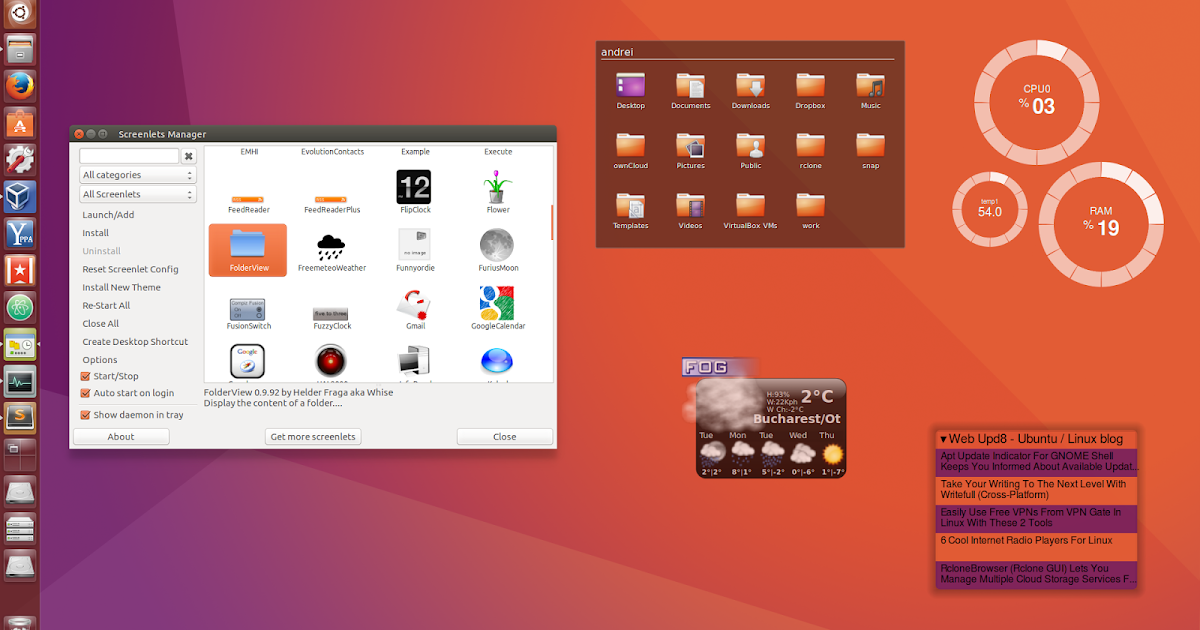 Ubuntu Animated Wallpaper Screenlets Desktop Widgets Fixed For Ubuntu 16 04