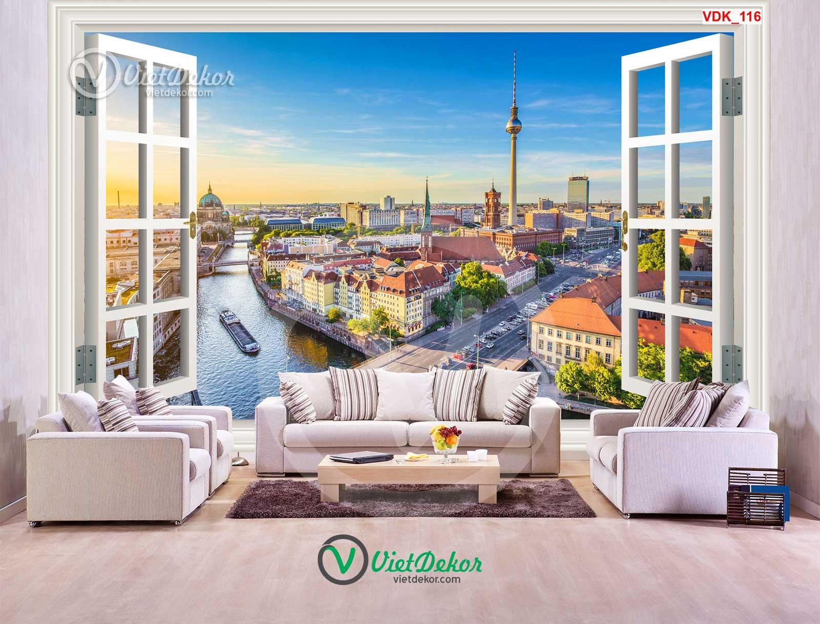 Tranh dán tường 3d cửa sổ  phong cảnh toàn thành phố