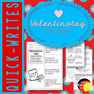 Abwechslungsreiche Schreibanlässe rund ums thema Valentinstag und die Liebe. Für Grundschule und DaF-Unterricht.