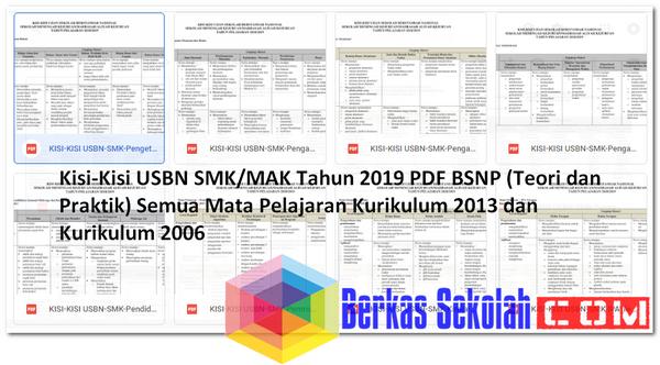 Kisi-Kisi USBN SMK/MAK Tahun 2019 PDF BSNP (Teori dan Praktik) Semua Mata Pelajaran