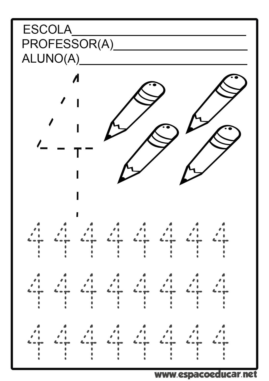 atividades com numerais tracejados de 0 a 9 para coordenaÇÃo motora