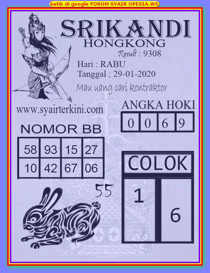 Kode syair Hongkong Rabu 29 Januari 2020 101