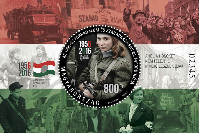 Hungary's official stamp commemorating the 60th anniversary of the 1956 Revolution