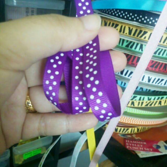 Baru : Polkadot Ribbon warna Purple