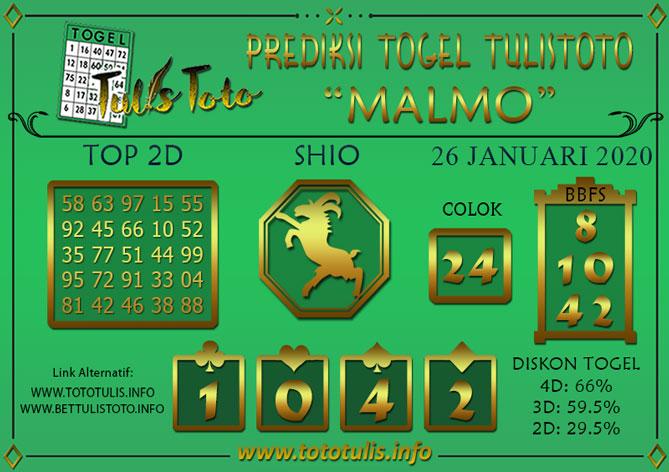 Prediksi Togel MALMO TULISTOTO 26 JANUARI 2020
