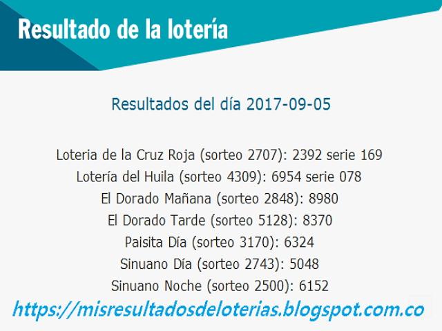 Como jugo la lotería anoche | Resultados diarios de la lotería y el chance | resultados del dia 05-09-2017