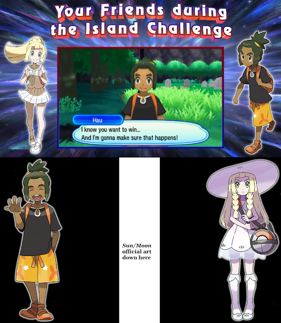 Pokémon Ultra Sun Moon Hau Lillie switch facial expressions friends not smiling