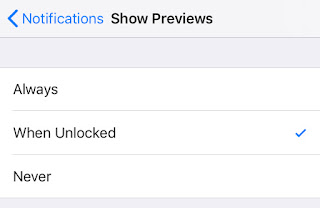 disable preview content for all notificaiton on iphone locked screen