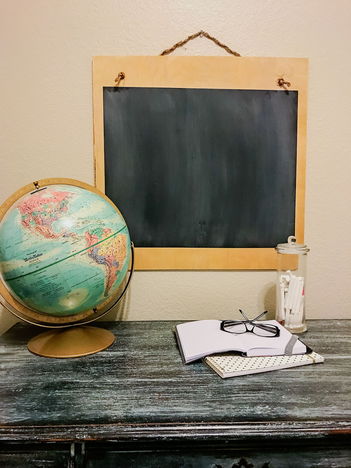 DIY Chalkboard with Globe and a Vintage Black Desk