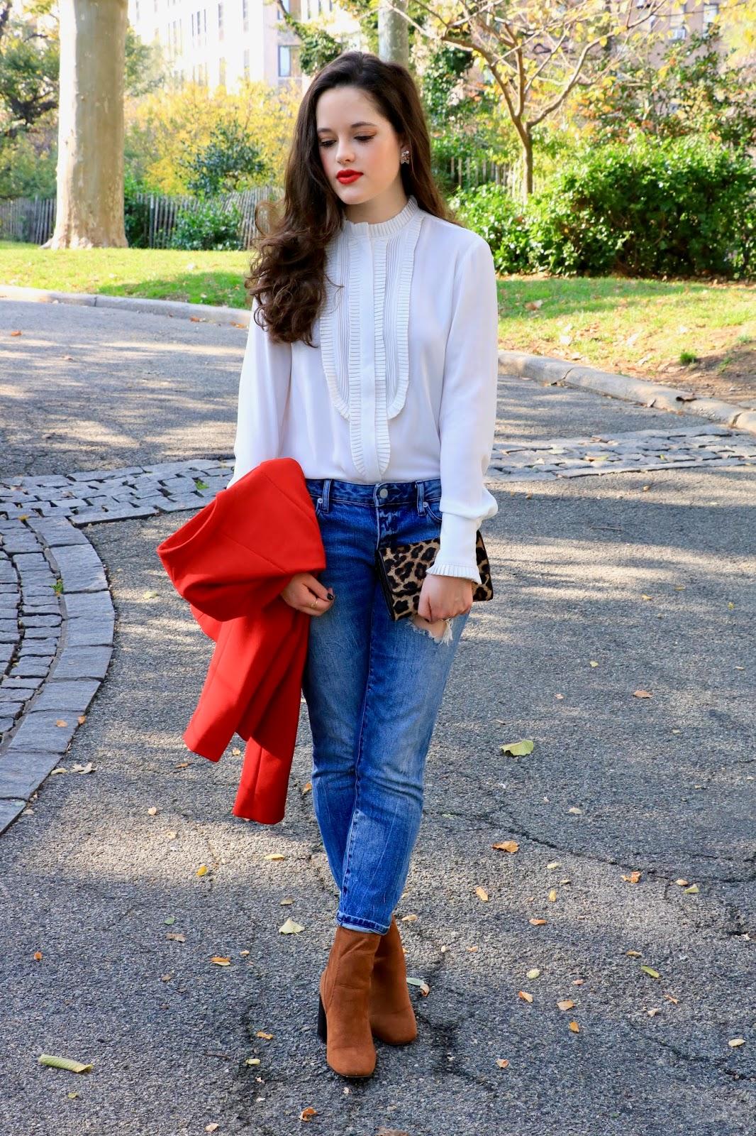 ann taylor white ruffle blouse