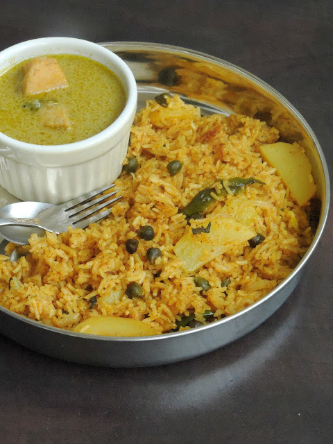 Green Chickpeas & Potato Briyani, Hara channa Aloo Biriyani