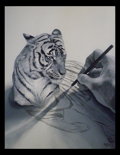 Decoration De Tigre Blanc Sur Feuille