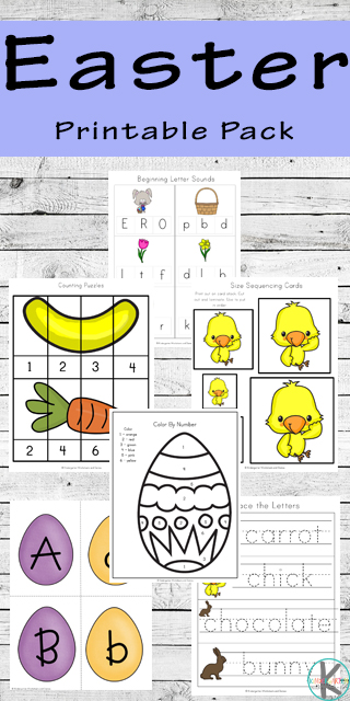 FREE Easter Worksheets - these printables are filled with Easter Activities for toddler, preschool, prek, kindergarten, and first grade including alphabet letters, color by letter, color by number, counting, skip counting, addition, which comes next, size sorting, color words, and and an Easter Emergent Reader. #easterworksheets #kindergarten #preschool