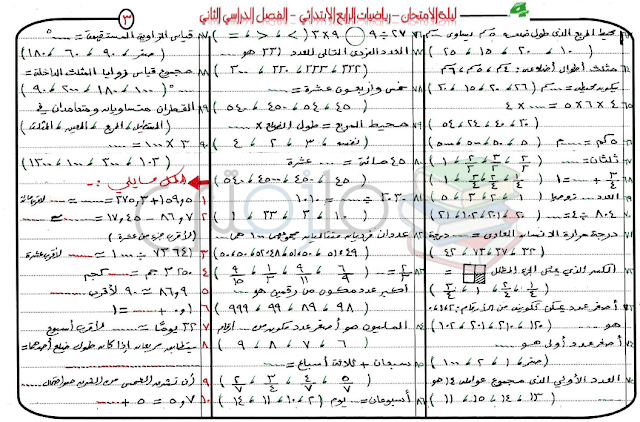 مراجعة ليلة امتحان رياضيات للصف الرابع الابتدائي الترم الثاني