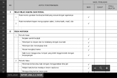 Laporan Pencapaian Perkembangan Anak PAUD/TK Kurikulum 2013