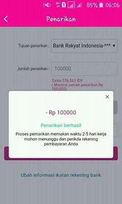 Bukti penarikan dana dari Apk Android TokoVips