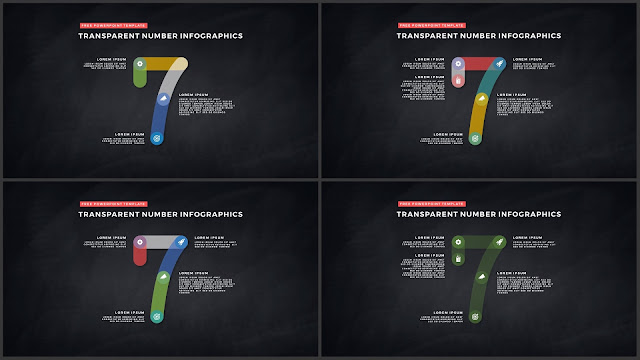 Infographic Transparent Design Elements for PowerPoint Templates in Dark background using Number 7