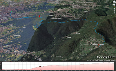 Hiking route from Bergamo to Monte di Nese.