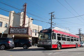 One of MUNI's newer 40' electric trolley buses. (Credit: MUNI) Click to Enlarge.