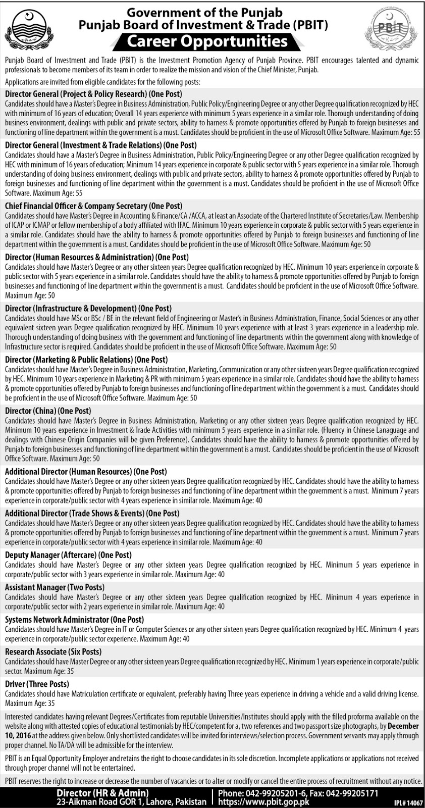 Jobs in Punjab Board of Investment & Trade Lahore