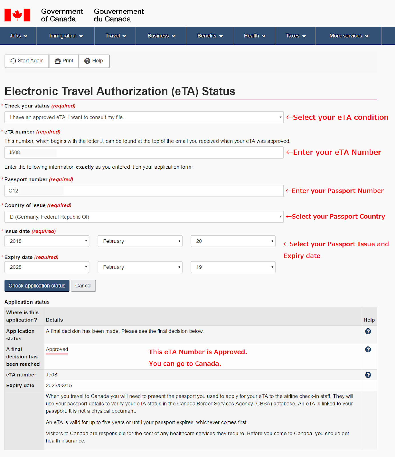 How can I check the status of my eTA application?
