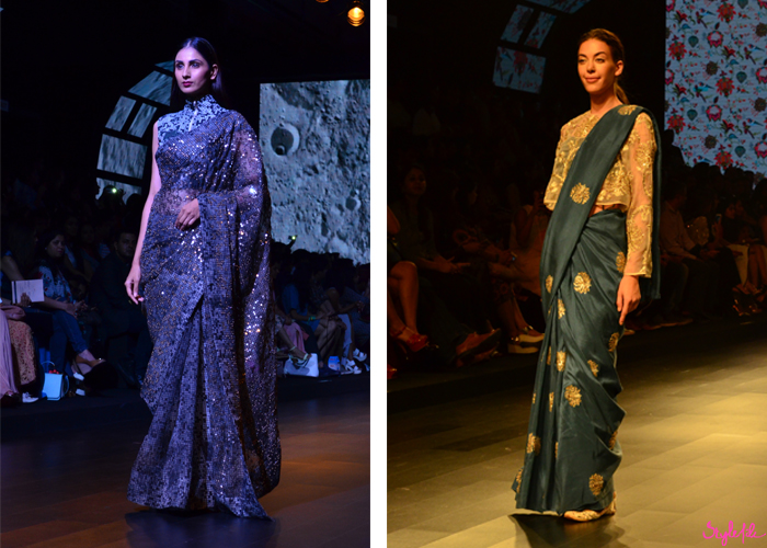 Indian designers Payal Singhal and Surendri display fashion garments and clothing at Lakme Fashion Week Summer Resort 2016 captured by Style File at St. Regis Mumbai