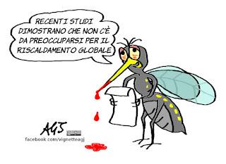 zanzare, autunno, riscaldamento globale, umorismo, vignetta