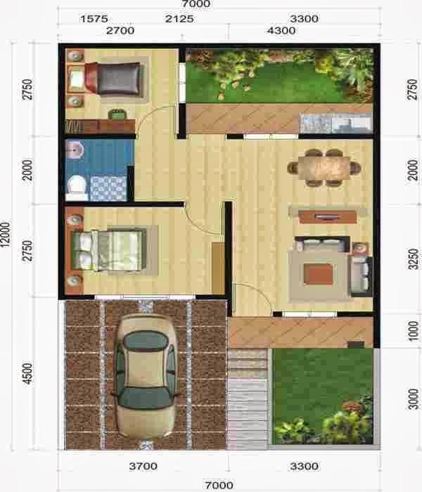 3 Contoh Denah Rumah Minimalis Modern Terbaru: Denah: NEW DENAH RUMAH MINIMALIS DUA KAMAR