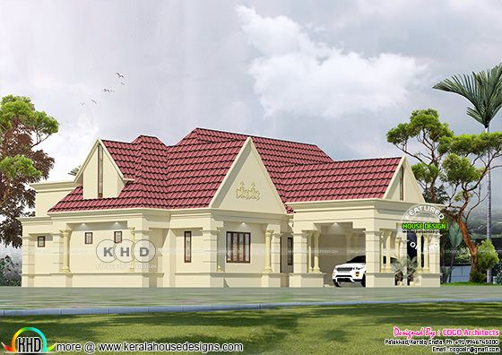 Rendering of Colonial style sloped roof villa