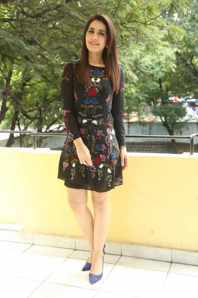Rashi Khanna Images In Black Dress At Telugu Film Interview ❤