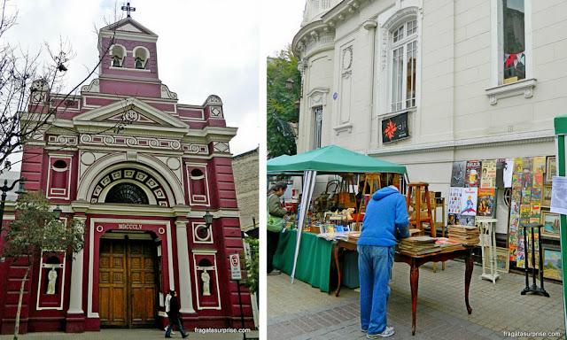 Igreja de Santa Cruz e Feira de Antiguidades do Bairro Lastarria, Santiago do Chile
