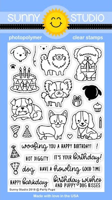 Sunny Studio: Party Pups Puppy Dog Birthday 4x6 Clear Stamp Set