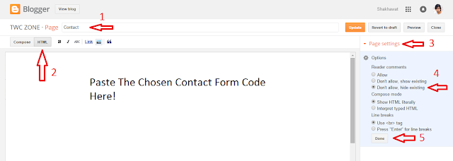 Add Blogger Contact Form In A Static Page 2