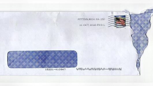 This is the envelope Dave Eargle received the letter in.