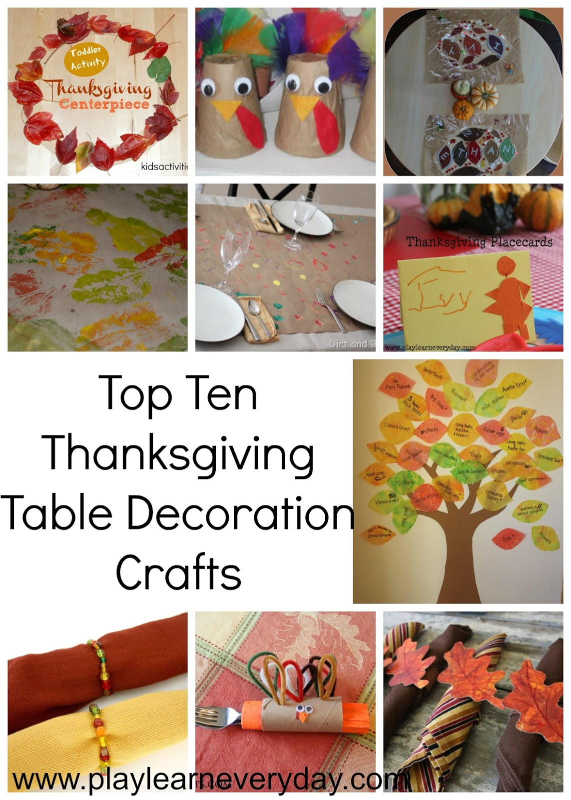 Top Ten Thanksgiving Table Decoration Crafts Play And Learn Every Day