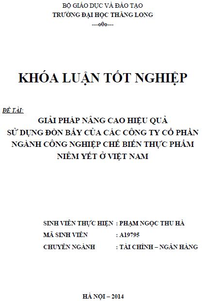 Giải pháp nâng cao hiệu quả sử dụng đòn bẩy của các công ty Cổ phần công nghiệp chế biến thực phẩm niêm yết ở Việt Nam