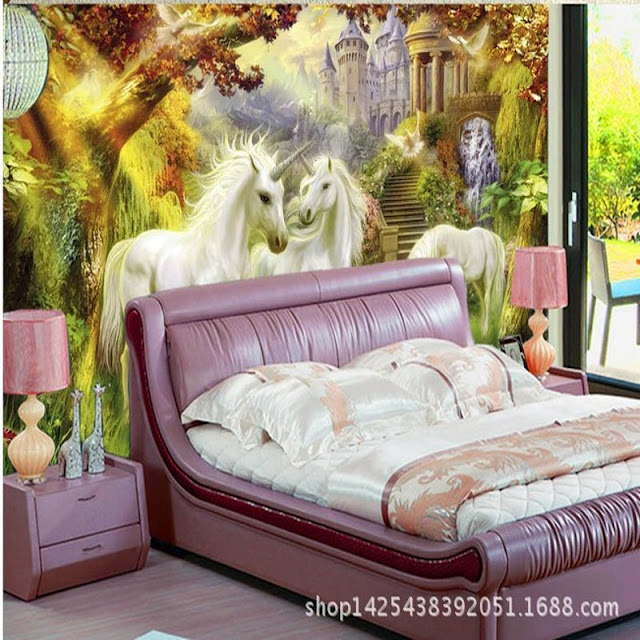 Unicorn wall mural 3d wallpaper photo mural picture unicorn Wallpaper for rooms forest Bedroom