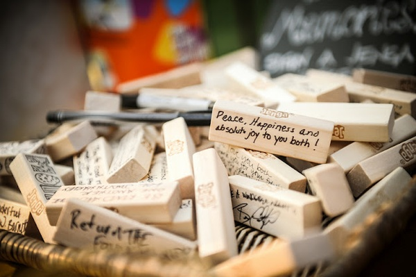 jenga guestbook alternative via https://www.oh-lovely-day.com/2012/08/real-wedding-catherine-foster-modernly.html