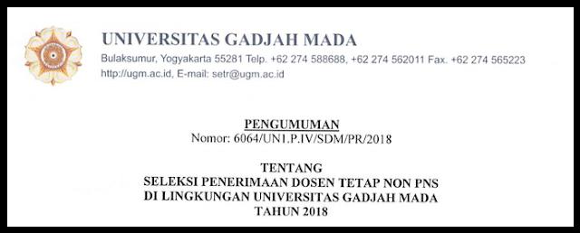 INFO PENERIMAAN DOSEN TETAP NON PNS DI LINGKUNGAN UNIVERSITAS GADJAH MADA TAHUN 2018