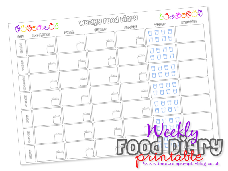 photograph about Printable Food Diary titled Weekly Food items Diary Free of charge Printable